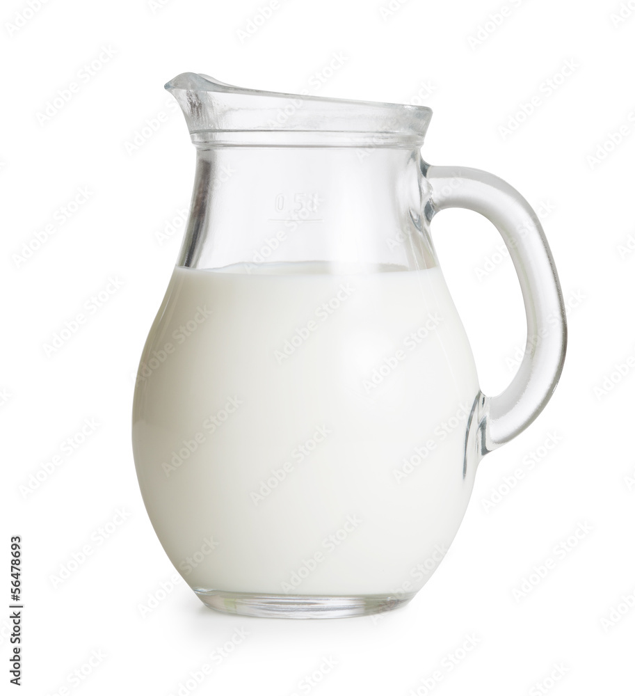 Fototapety, obrazy: Milk glass jug or jar isolated. Clipping path with no shadows is