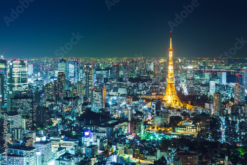 Photo  Tokyo skyline at night