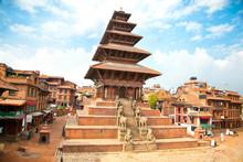 Nyatapola Pagoda On Taumadhi Square In Bhaktapur, Kathmandu, Nep