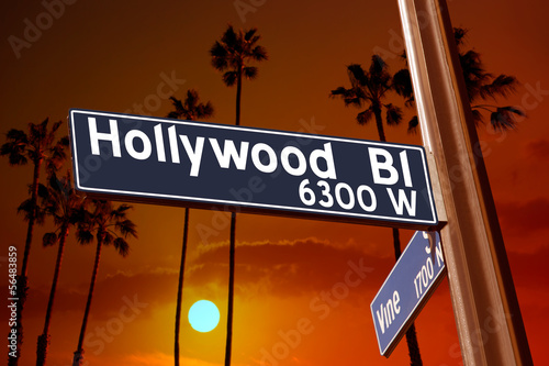 Hollywood Boulevard with Vine sign illustration on palm trees Wallpaper Mural