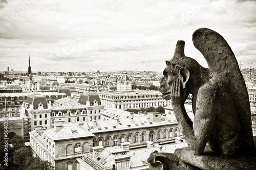 Foto op Aluminium Parijs gargouille Notre-Dame de Paris