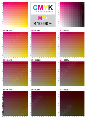 Cmyk Color Swatch Chart Magenta And Yellow Buy This Stock Vector
