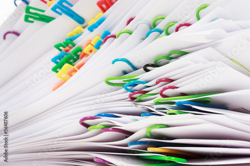 Fotografie, Obraz  Stack of documents with clips