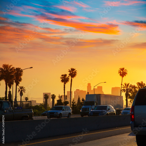 Staande foto Los Angeles LA Los Angeles sunset skyline with traffic California