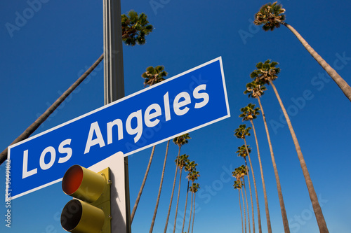 Poster Los Angeles LA Los Angeles palm trees in a row road sign photo mount