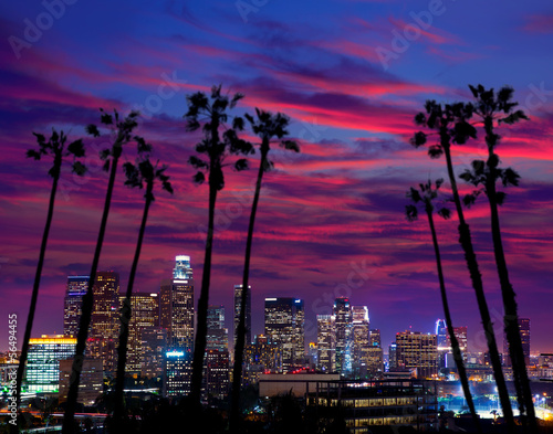 Poster de jardin Los Angeles Downtown LA night Los Angeles sunset skyline California