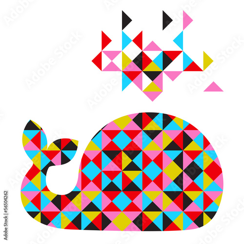 Poster Geometrische dieren Vector whale with abstract geometric background
