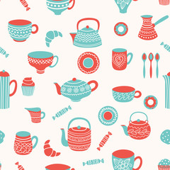 Fototapeta Tea seamless pattern