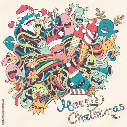 Aufkleber - Christmas background with cute crazy monsters