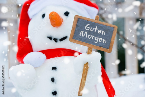 Schneemann Wünscht Guten Morgen Buy This Stock Photo And