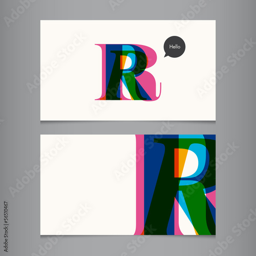 Photo  Business card template, letter R