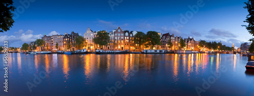 Starry night, tranquil canal scene, Amsterdam, Holland