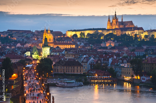 Staande foto Praag St Vitus Cathedral, Prague Castle and Charles Bridge