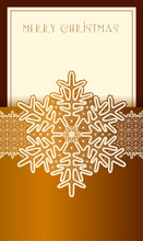 Beautiful Christmas Card With Lace Vintage Snowflake