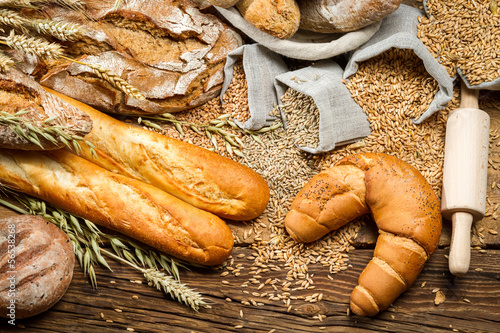 Fototapety, obrazy: In village baker pantry with all kinds of breads