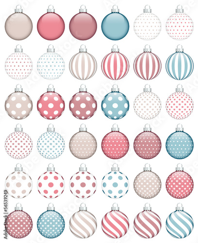 Naklejka Collection Of 36 Christmas Balls Retro Color