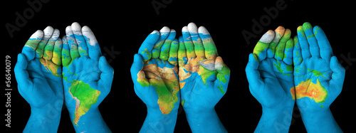 Poster Afrique Map painted on hands.Concept of having the world in our hands