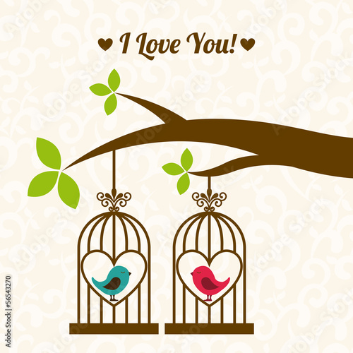 Poster Birds in cages valentines day