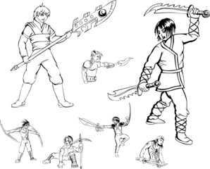 Anime warriors with blades
