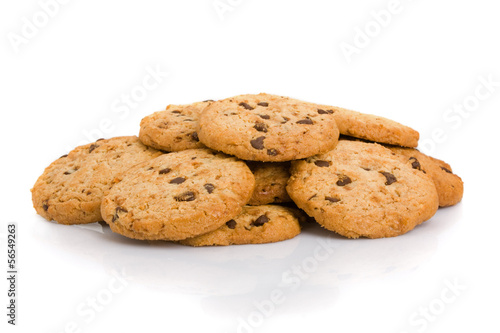 Tuinposter Koekjes Pile of chocolate chip cookies isolated on white background.