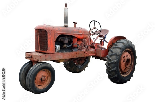 Rustic Old Tractor isolated on white background