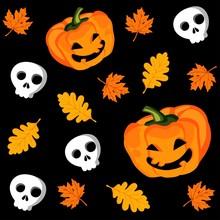 Halloween Seamless Pattern With Pumpkin, Vector