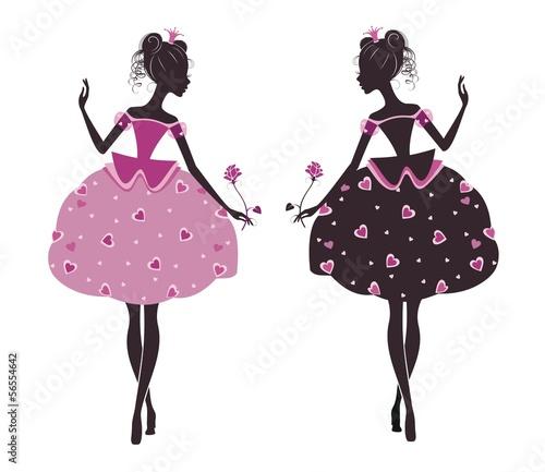 Naklejka na szafę dwie baletnice księżniczki