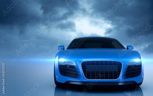plakat Niebieski samochód Sport