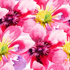 Obraz na SzkleSeamless wallpaper with Pink flowers