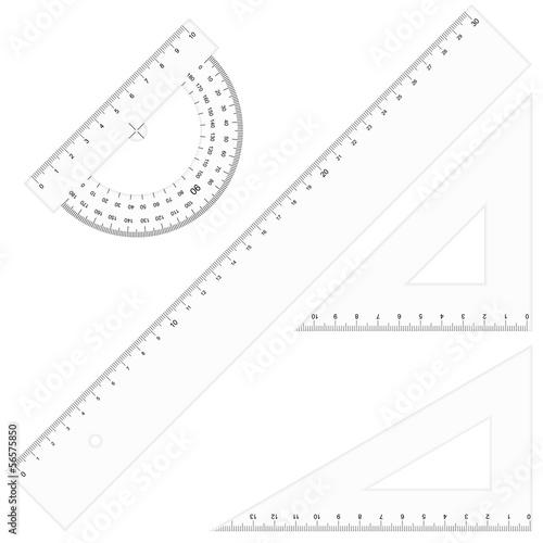 Fotografía  Set - Lineale Dreikant durchsichtig
