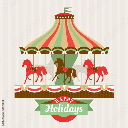 Fotografie, Obraz  Greeting card with carousel