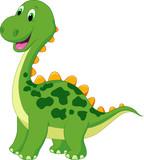 Fototapeta Dinusie - Cute green dinosaur cartoon