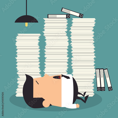 Hard working night in office, Business concept Poster
