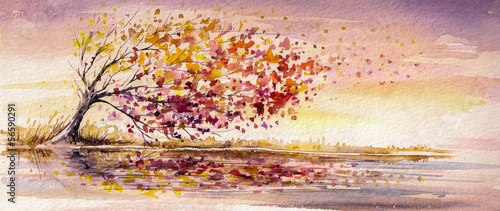 Autumn tree on a wind.Watercolors.
