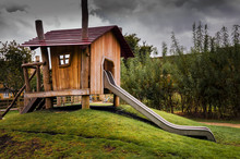 Wooden Childrens Playhouse With Slide