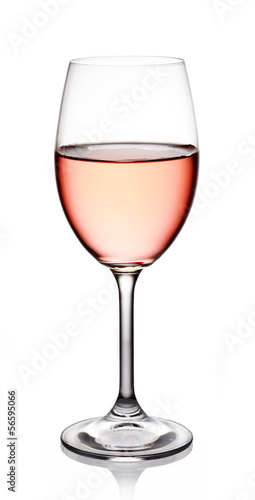 Deurstickers Alcohol Glass of rose wine