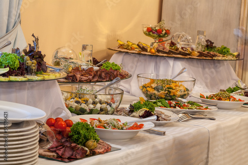 Fotografie, Obraz  Buffet with different appetizers