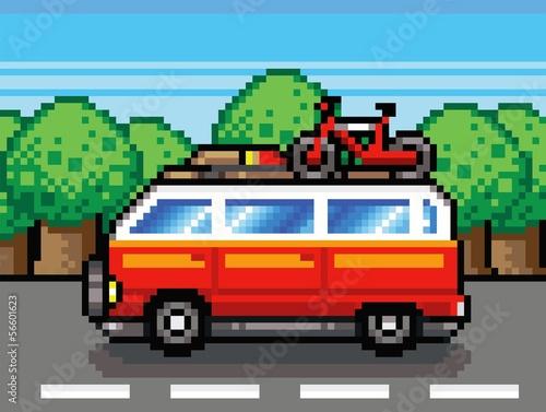 Photo sur Toile Pixel summer holiday trip - retro pixel vector illustration