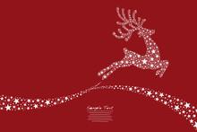 Reindeer Flying Stars Red Background