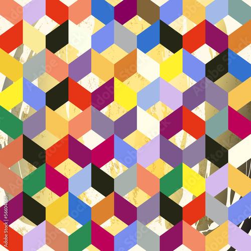 Obrazy wieloczęściowe kolorowy wzór geometryczny na tle grunge