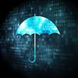 Privacy concept: Umbrella on digital background