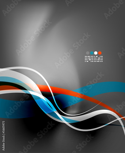 Photo  Modern business wave on grey