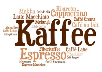 Panel Szklany Kawa Wordcloud - Kaffezubereitungen