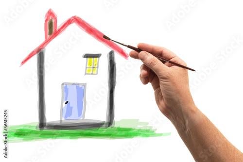 casa ad acquerello Canvas Print