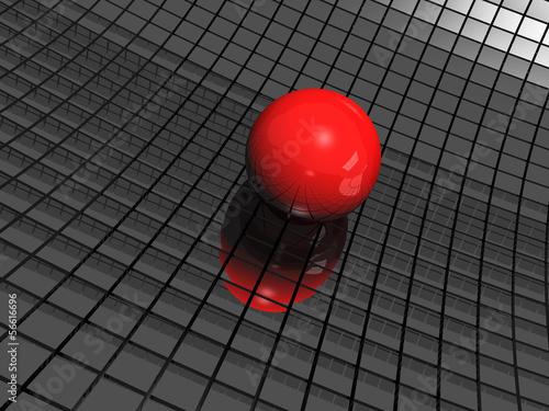 3d-tlo-z-czerwona-pilka-i-czarnymi-lustrzami