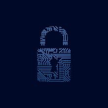 Data Security Icon. Circuit Board Padlock.