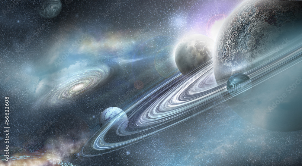 Fototapety, obrazy: Planet with numerous ring system