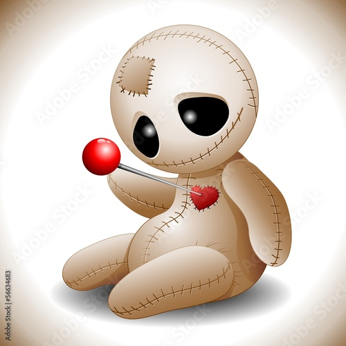 Acrylic Prints Draw Voodoo Doll Cartoon in Love-Bambola Voodoo Amore e Cuore