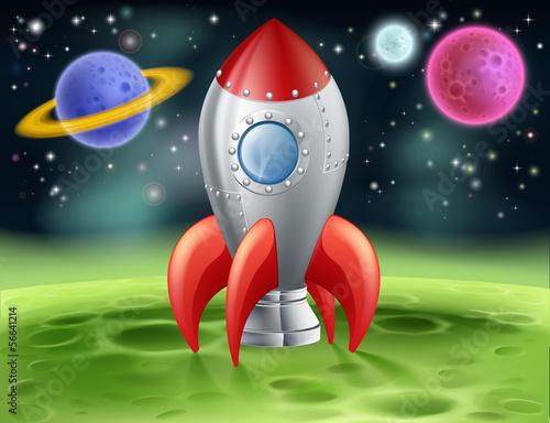 Foto op Canvas Kosmos Cartoon Space Rocket on Alien Planet