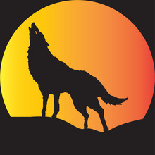 A Wolf In Silhouette Howling At Moon Suitable For Halloween Art